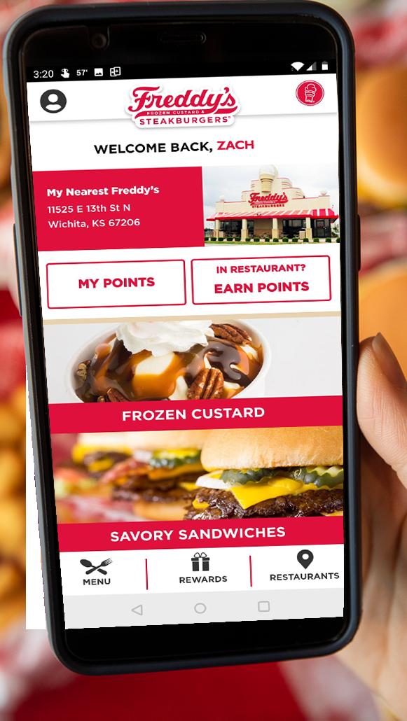 Mobile device taking picture in a Freddy's Frozen Custard Steakburgers location