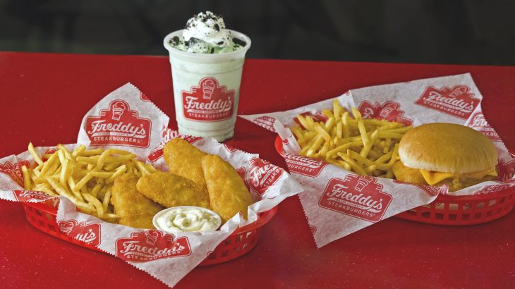 Basket of Freddy's fish tenders with tartar sauce with a side of fries. Basket of Freddy's Fish sandwich with a side of fries. Mint'n Oreo concrete.