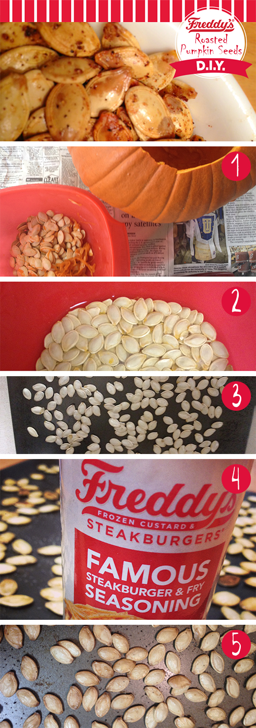 Freddy's Roasted Pumpkin seeds D.I.Y Pinterest Post. Step by step.