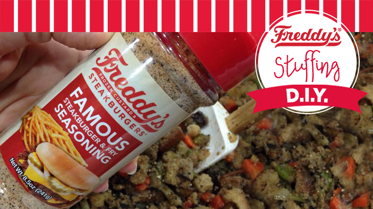 Freddy's Famous seasoning added to stuffing Pinterest post. D.i.y.
