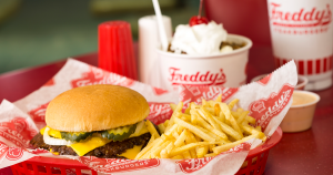 Freddy's original double combo with Turtle sundae in background.