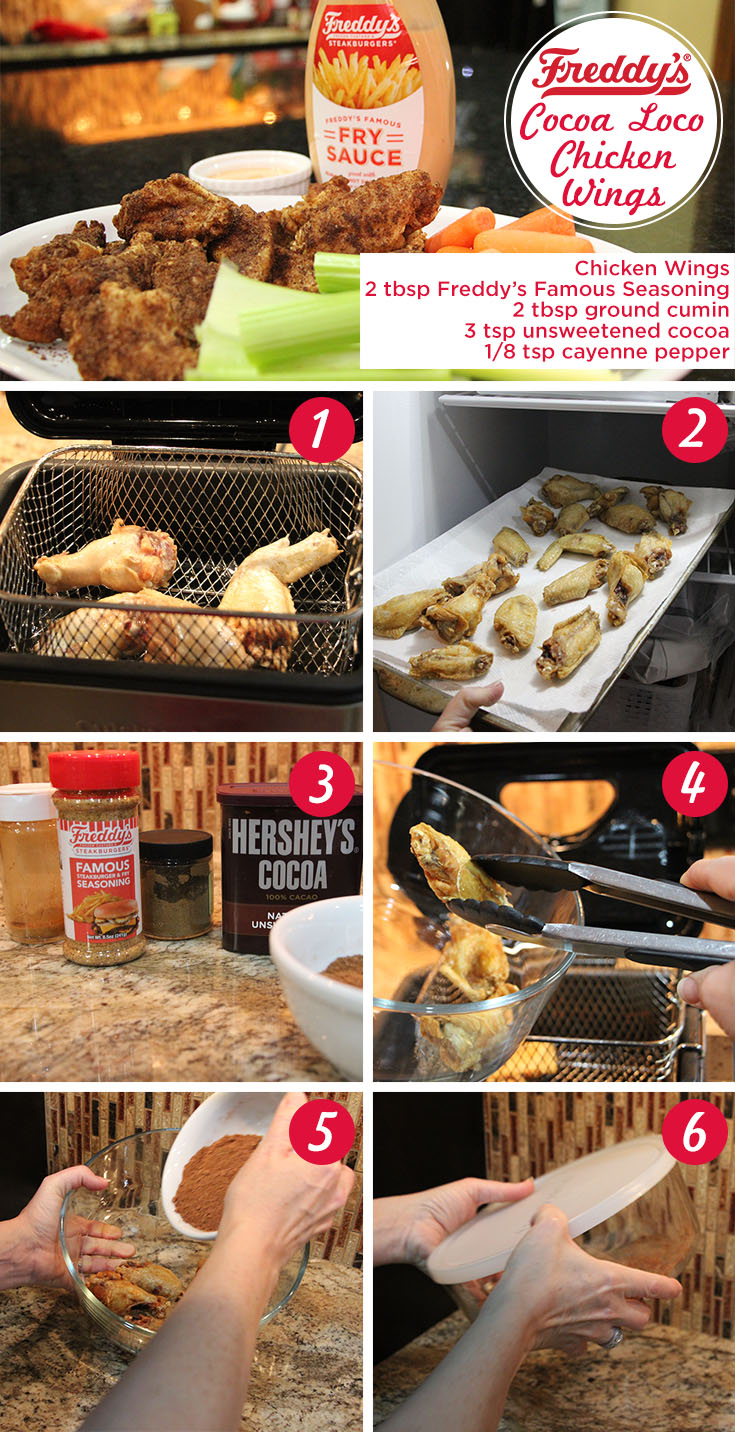 Freddy's Cocoa Loco Chicken Wings. Pinterest Post. Ingredients: Chicken wings, 2 tbsp Freddy's Famous seasoning, 2 tbsp ground cumin, 3 tsp unsweetened cocoa, 1/8 tsp cayenne pepper.