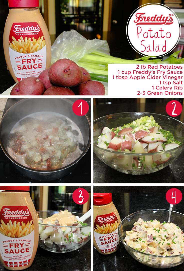Freddy's World's Easiest Potato Salad D.I.Y Pinterest Post. ingredients needed: 2 pound of red potatoes, 1 cup of Freddy's Fry Sauce, 1 tbsp of Apple Cider Vinegar, 1 tsp of salt, 1 celery rib, and 2-3 green onions.