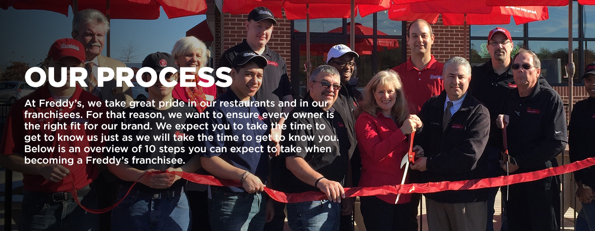 Our process: At Freddy's, we take great pride in our restaurants and in our franchisees. For that reason, we want to ensure every owner is the right fit for our brand. We expect you to take the time to get to know us just as we will take the time to get to know you. Below is an overview of 10 steps you can expect to take when becoming a Freddy's franchisee.