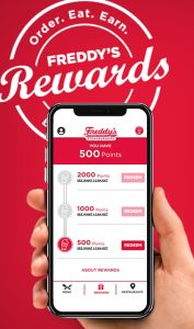Phone screen with Freddy's loyalty program