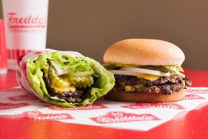 Freddy's Original Double with Cheese, steakburger and lettuce wrap