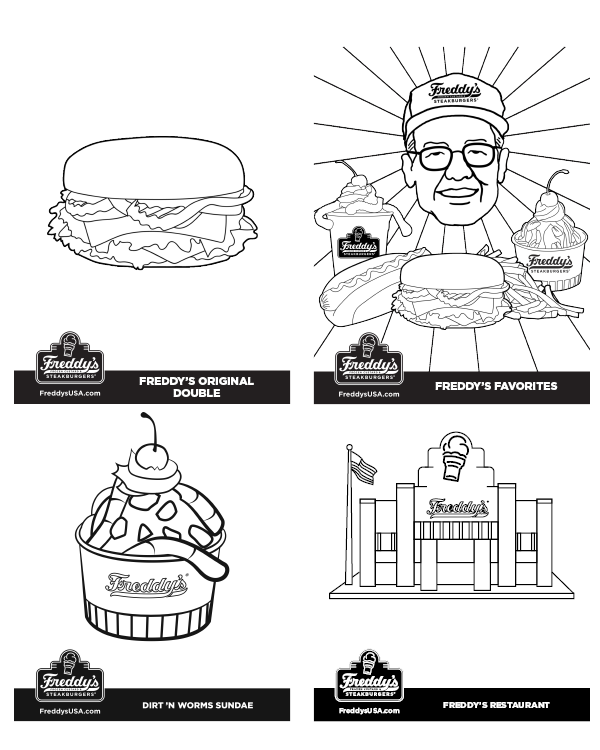 Freddy's Frozen Custard & Steakburgers Coloring Pages Thumbnail image