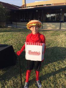 FredHead in a Freddy's-themed Halloween costume