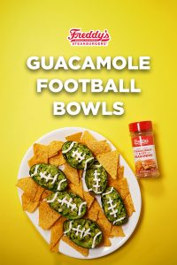 Guacamole Footbowls with Freddy's Famous Steakburger & Fry Seasoning