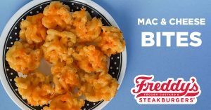 Mac & Cheese Bites made with Freddy's Famous Fry Sauce!