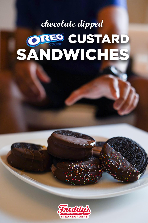 Chocolate Dipped OREO Custard Cookies